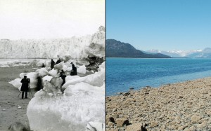Muir Glacier melt 1880 to  2005. Courtesy of the Glacier Photograph Collection, National Snow and Ice Data Center/World Data Center for Glaciology.